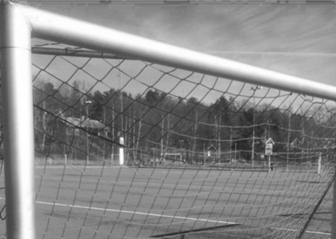 Texten handlar om vikten av att få in glädje i idrottandet. Därför har vi en bild på ett fotbollsmål för att visa hur en typisk idrottsmiljö kan se ut.
